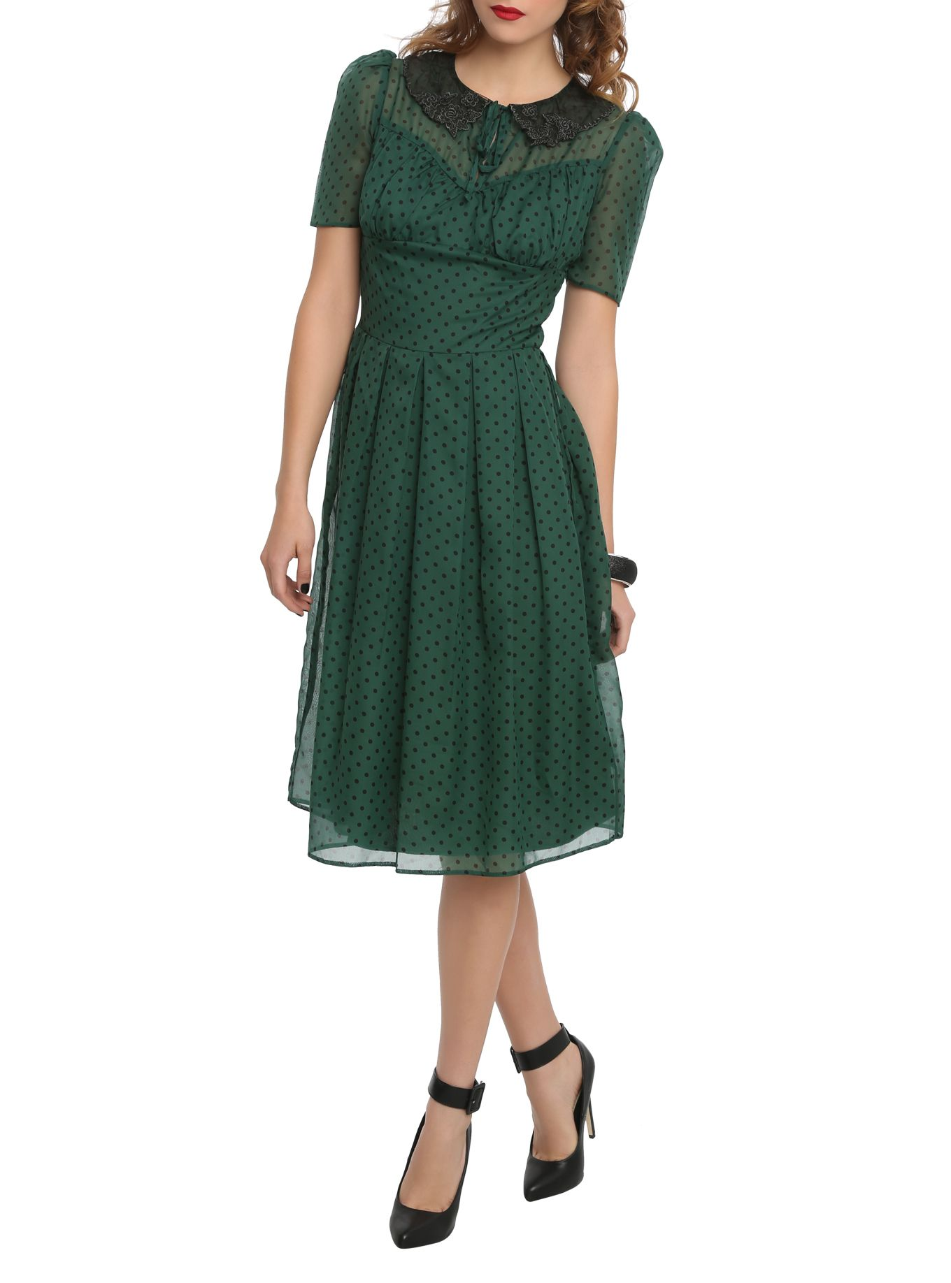 Green dress with lace overlay  Vintage style dress with chiffon overlay polka dot print sheer