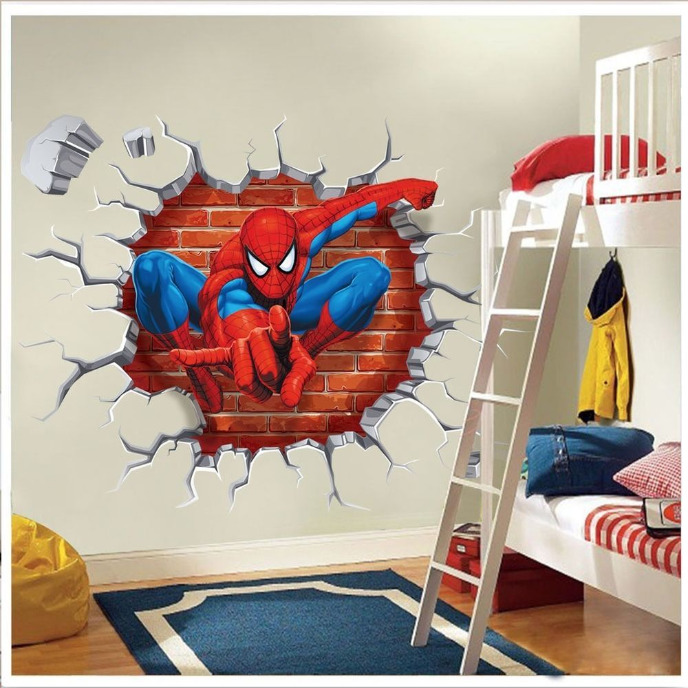 Baby boy room decor stickers - Super Hero Spider Man Wall Sticker Decals Kids Baby Nursery Room Vinyl Decor