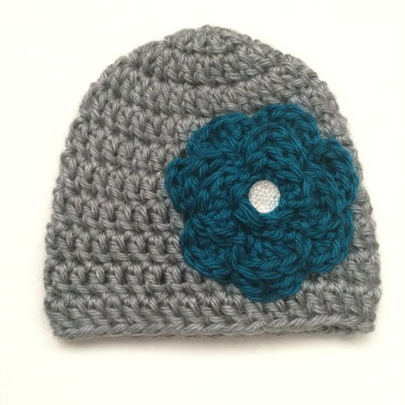 Crochet Baby Girl Beanie Hat with Flower, Gray Baby Hat, Teal Flower, Newborn Photography Prop