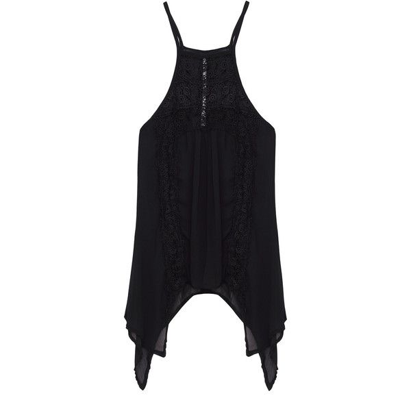 Yoins Sheer Black Sexy Hollow Lace Cami (£10) ❤ liked on Polyvore featuring intimates, camis, tops, black, sheer cami, lace camis, sexy camisole, sexy cami and sheer lace camisole