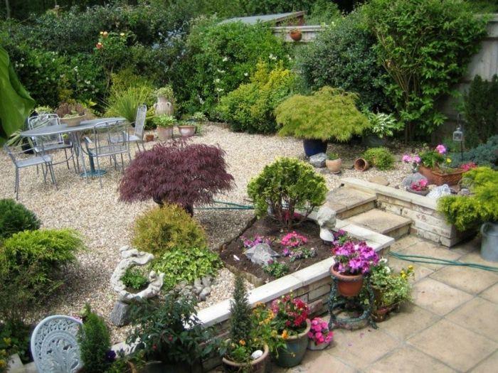 gartenideen für kleine gärten kieselsteine gartenmöbel pflanzen - gartenideen fur kleine garten