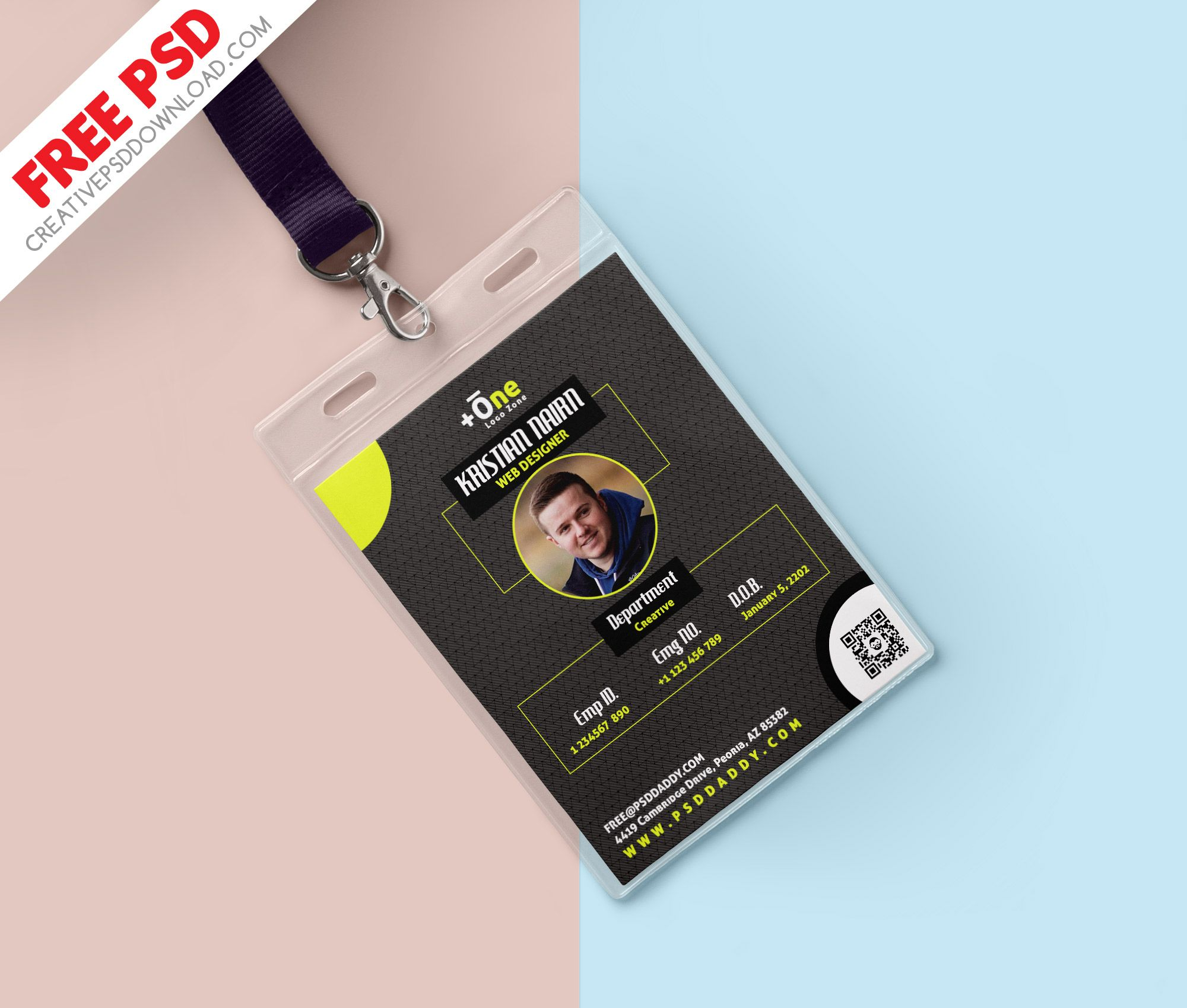 The Excellent Office Identity Card Free Psd Regarding Id Card Design Template Free Printable Business Cards Illustration Business Cards Colorful Business Card