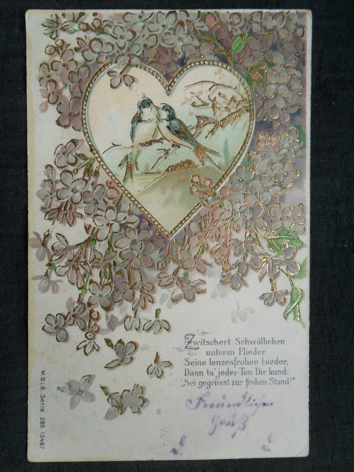 wunderschöne Präge-Golddruckkarte - Vögel im Herz - embossed, gel. 1906 | eBay