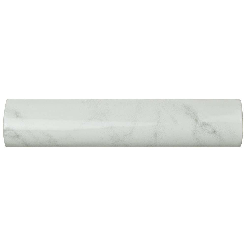 Merola Tile Classico Carrara Glossy Pencil Bullnose 1 1 4 In X 6 In Ceramic Wall Trim Tile Weqcrgpb The Home Depot Wall Trim Merola Tile Carrara