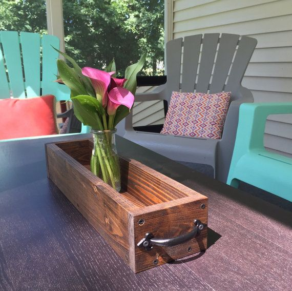 Wood Table Centerpiece 20 With Handles By Blackironworks On Etsy Wood Table Table Centerpieces Wood Boxes