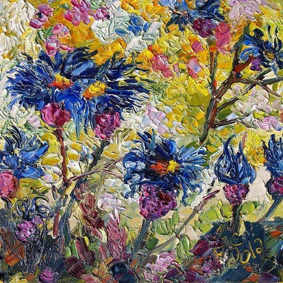 Cornflowers Provence Original Impressionist Oil by Ginette Fine Art,