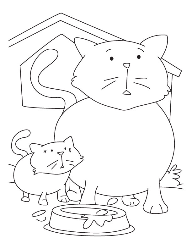 Kitten With Mother Cat Coloring Pages Cat Coloring Page Coloring Pages For Kids Animal Coloring Pages