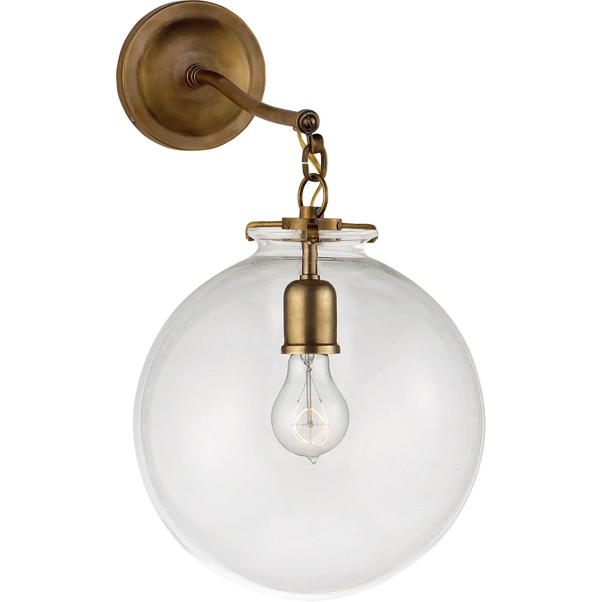 Visual Comfort Tob2226hab G4 Cg Thomas Obrien Katie 12 Inch Hand Rubbed Antique Br Sconce Wall Light In Clear Gl O Brien Large Globe