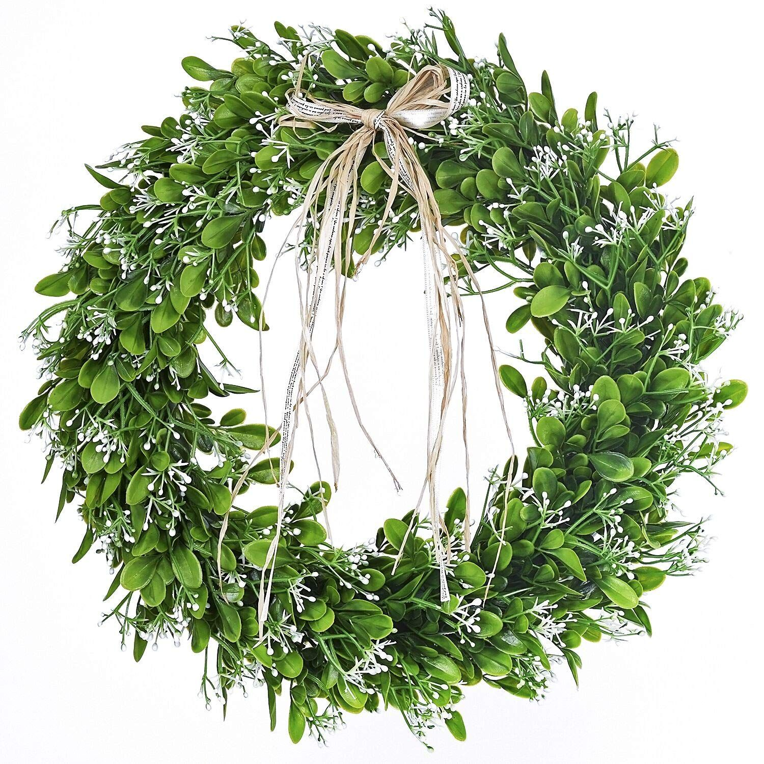 16 Inch Artificial Green Leaf Wreath With Bow Spring Front Door Wreath St Patricks Day Wreath In 2020 Spring Front Door Wreaths Wreaths For Front Door Farmhouse Wreath