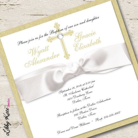 twin baptism invitation christening boy and girl gold products in