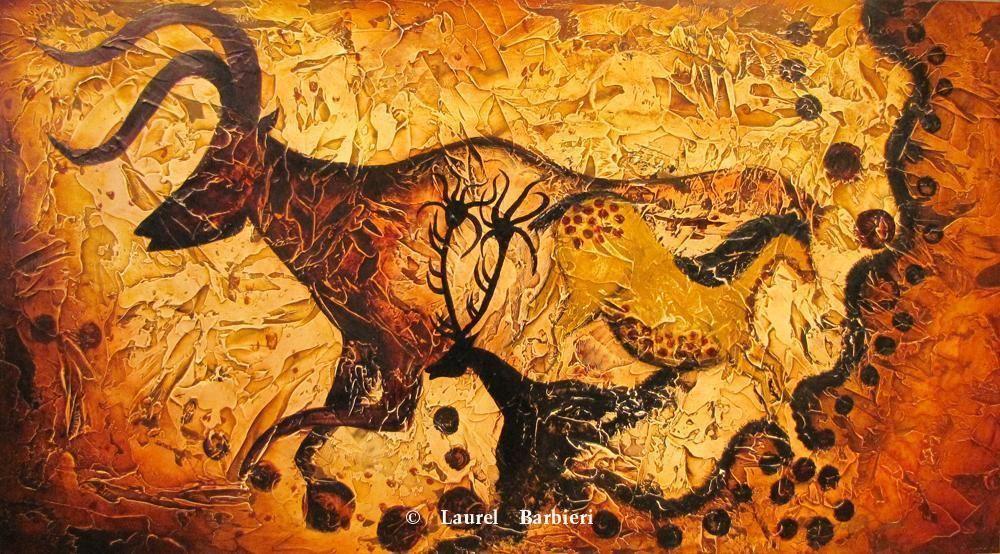 Caveman Art : Quot mans original trophy room cave art of laurel barbieri