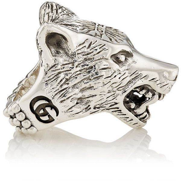 Gucci Mens Anger Forest Wolf Head Ring 520 liked on Polyvore