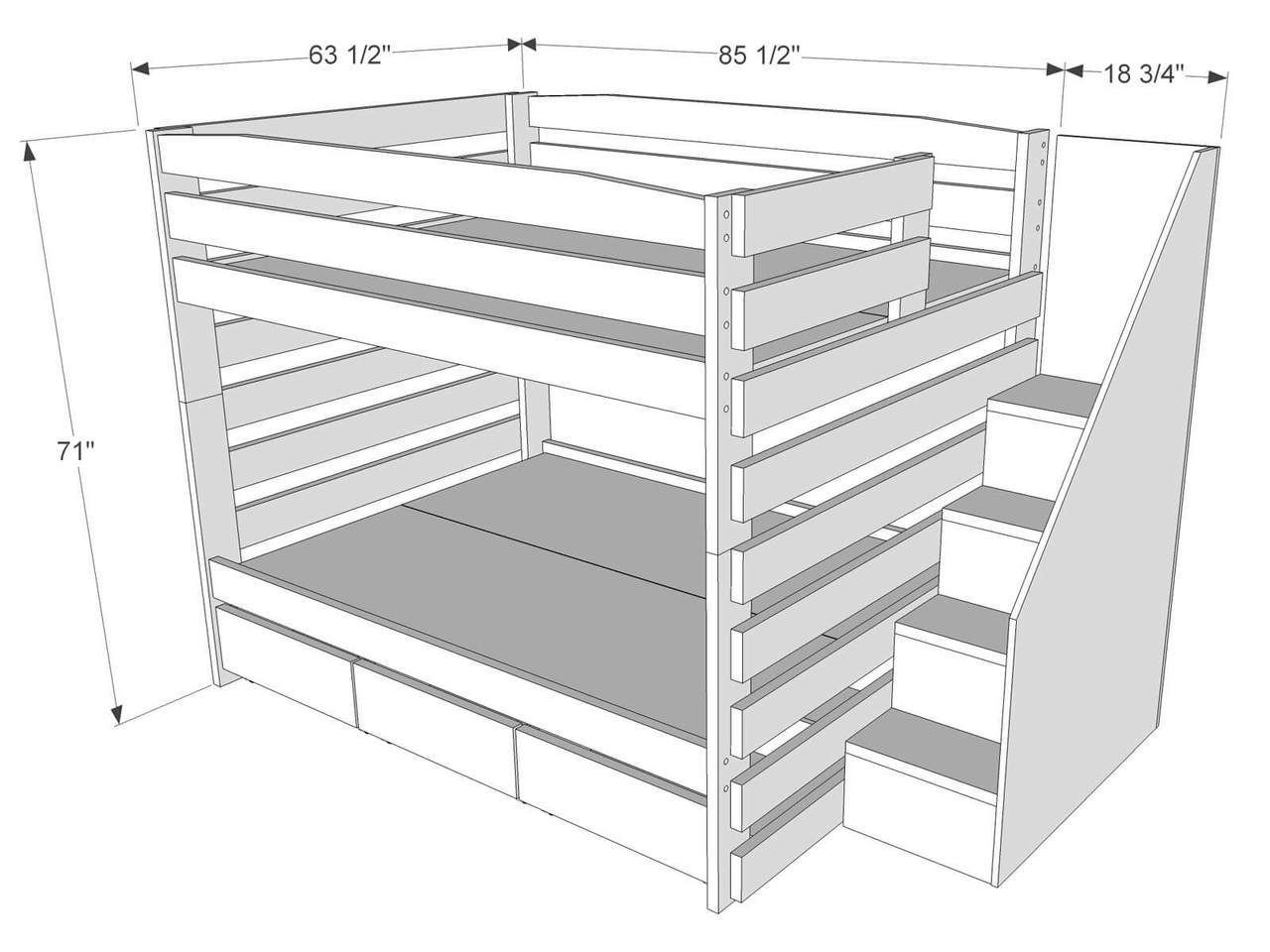 Dimensions Of Bunk Bed B102 Bunk Bed With Stairs And Storage Queen Bunk Beds Bunk Beds