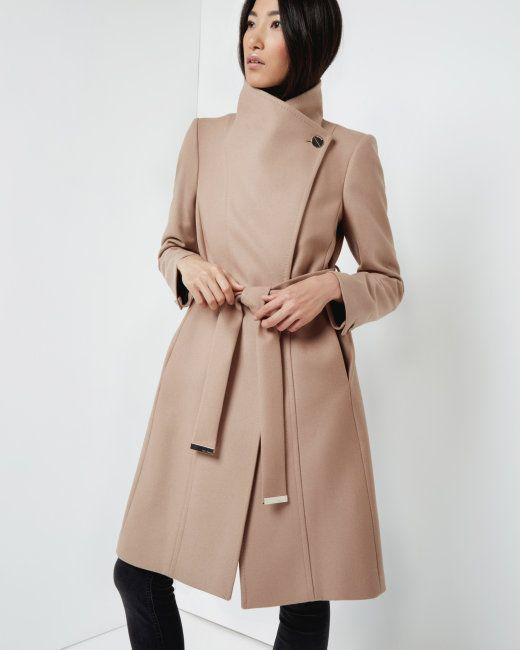 bfe0ce025 Long wool wrap coat - Taupe