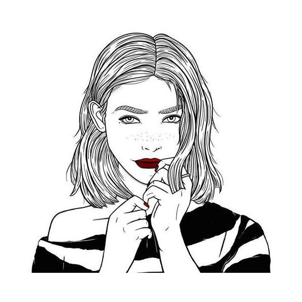 Untitled We Heart It ❤ liked on Polyvore featuring fillers, art, doodles, girls, sketch i outline