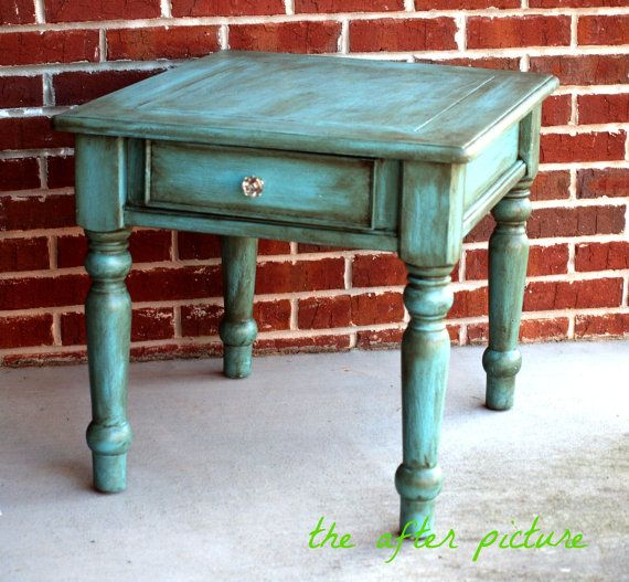 Distressed Turquoise Side Table By Theafterpicture On Etsy