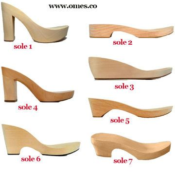 wooden soles and heels for shoes (wedges, sandals, etc