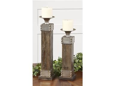 Shop+for+Uttermost+Lican,+S/2,+19668,+and+other+Accessories+at+The+Living+Room+Furniture+in+Missoula,+MT.+Natural+wood+with+a+light+chestnut+stain+and+antiqued+silver+accents.+Distressed+white+candle+included.+Sizes:+Sm-5x14x5,+Lg-5x18x5.