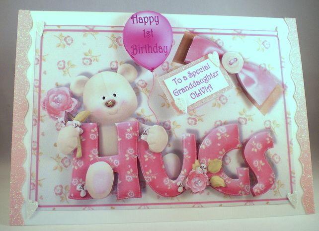 Girls First Birthday Card Cute Teddyhandmadegranddaughter3d