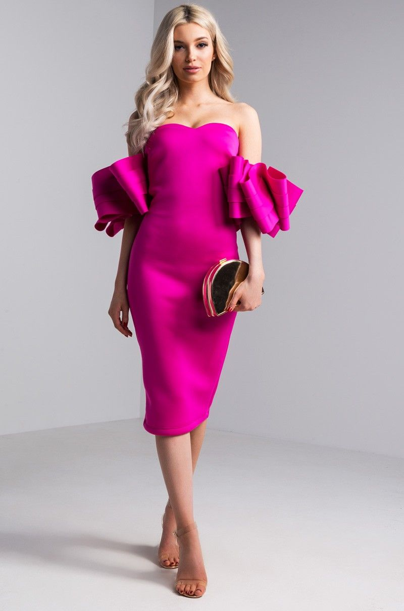 Exaggerated Sleeve Scuba Dress in Fuchsia  4bdb1fbba
