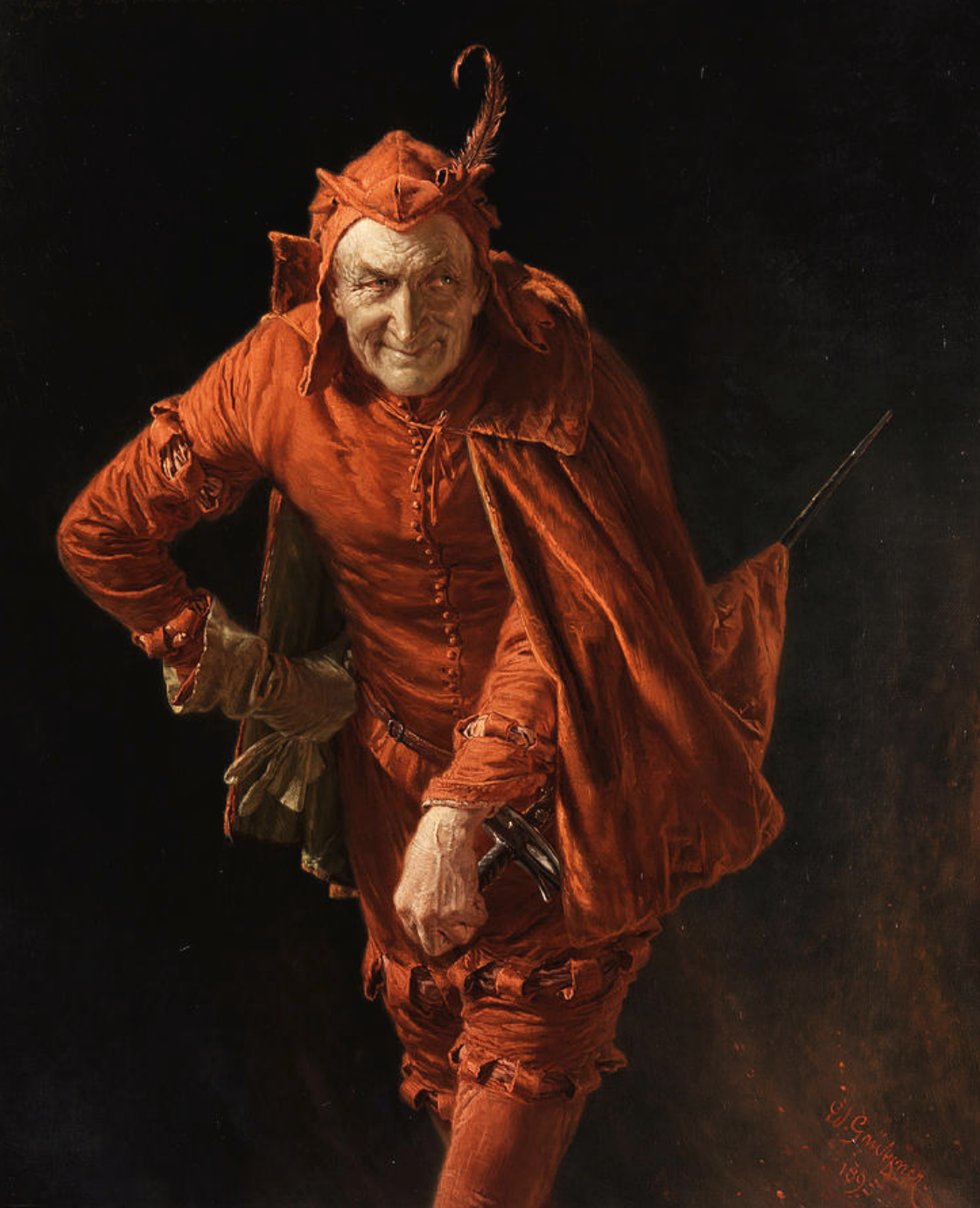 Eduard von Grützner: Mephisto by Eduard von Grützner  #Art #GermanArt #Paintings #ArtLovers