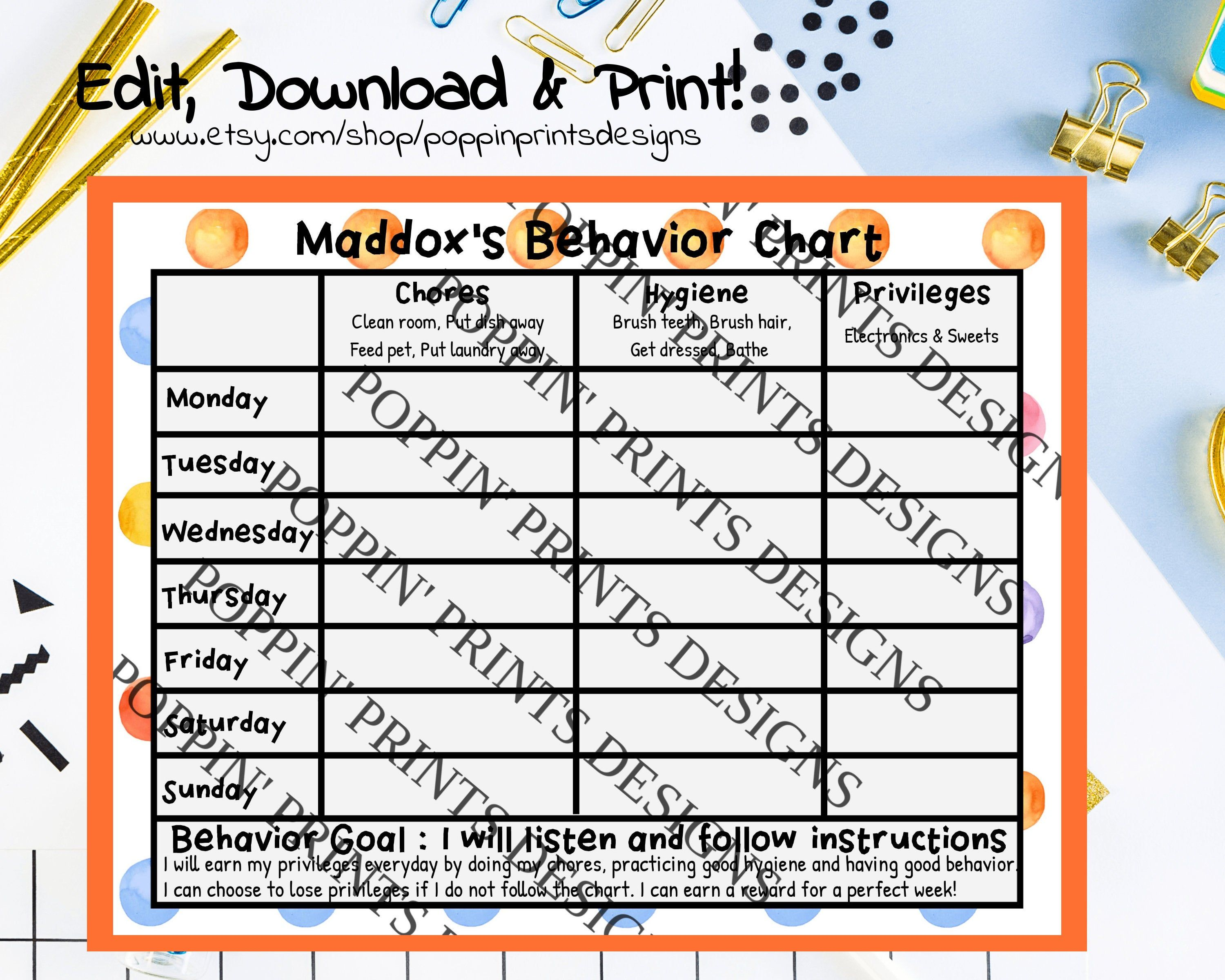 Weekly Behavior Chart Chore Chart Printable Chore Chart