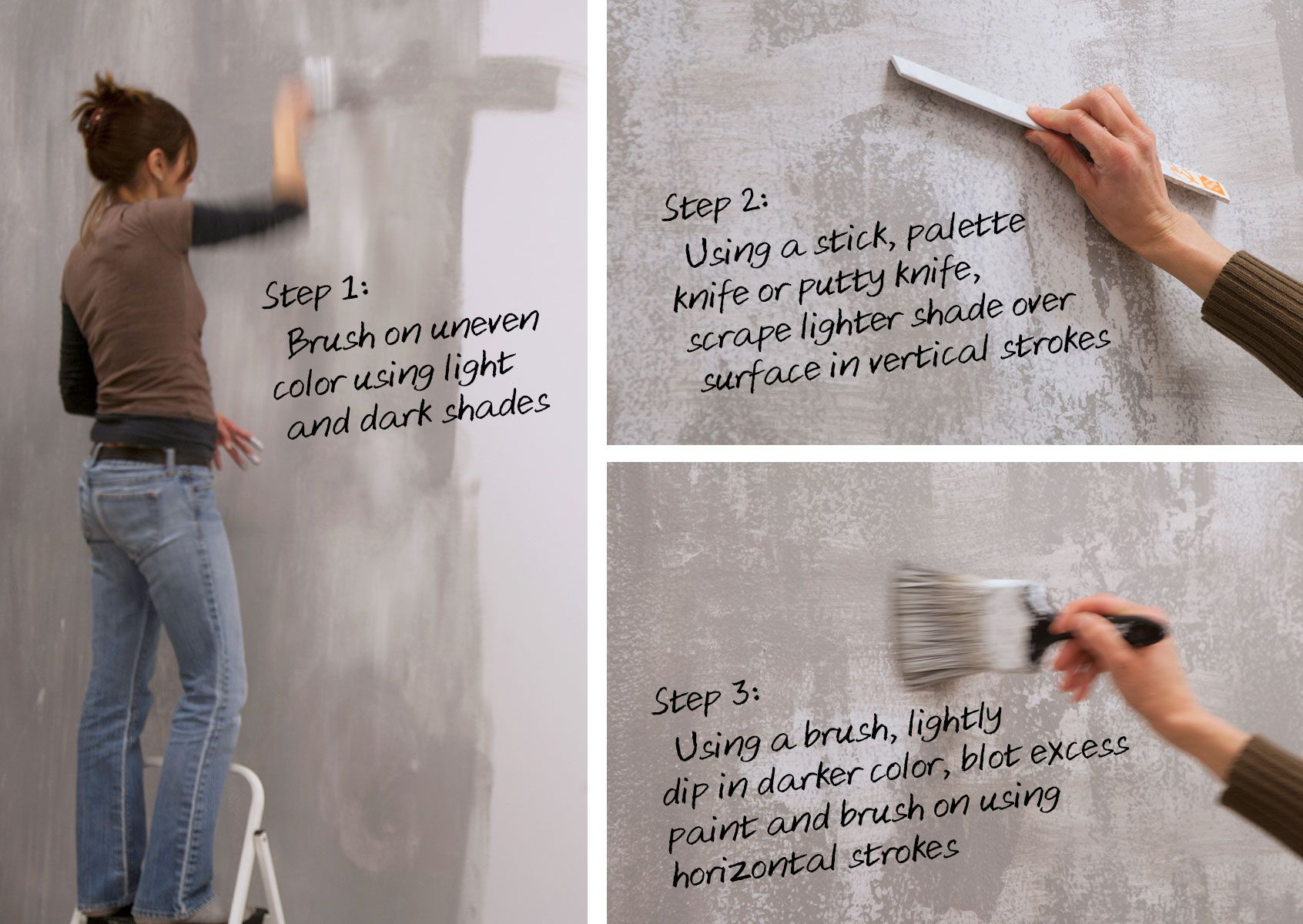 Diy Faux Painting diy home decor: how to paint a faux concrete wall finish — color