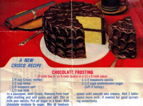 Criscos Chocolate Frosting Recipe Clipping Ceces Pins