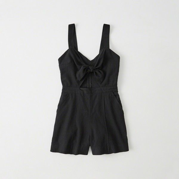 e13c1f74cbf7 Abercrombie   Fitch Knot Front Romper ( 58) ❤ liked on Polyvore featuring  jumpsuits