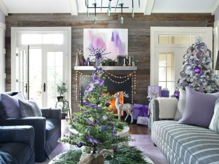 Arbol de navidad original sal n decorado en color lila y - Salones decorados para navidad ...