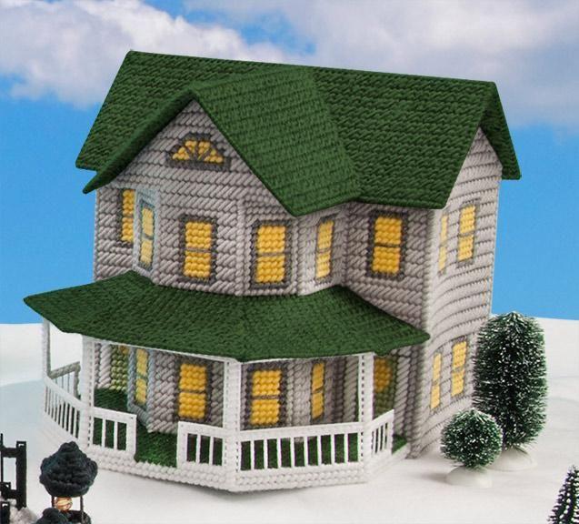 Plastic Canvas Village – Grey House Plastic Canvas Kit