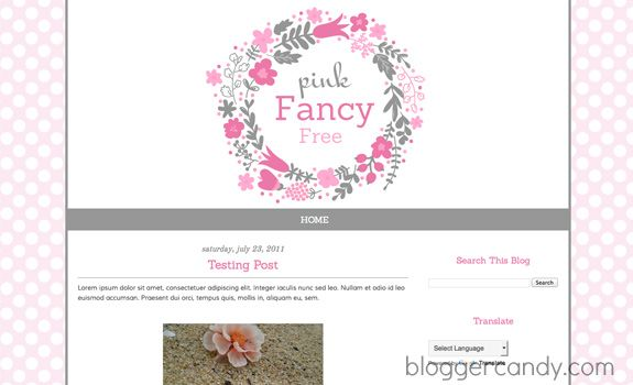 Pink Fancy Free - Cute free blogger template from bloggercandy - free cute blogger templates