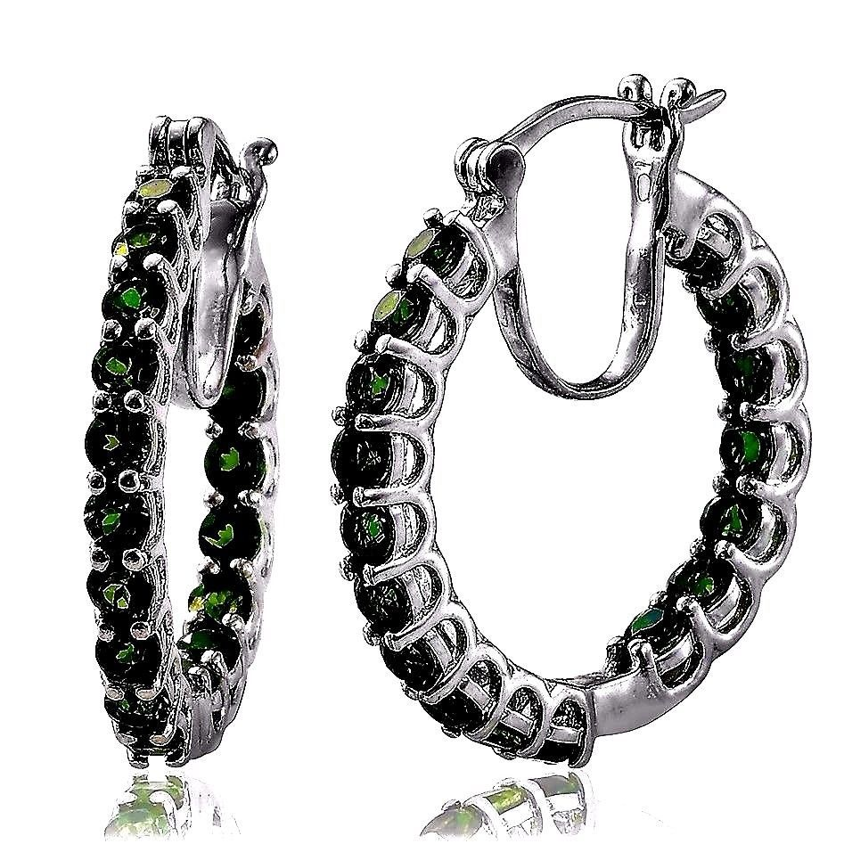 Russian Chrome Diopside Inside Outside Hoop Earrings 4 50 Carats Natural Unbranded