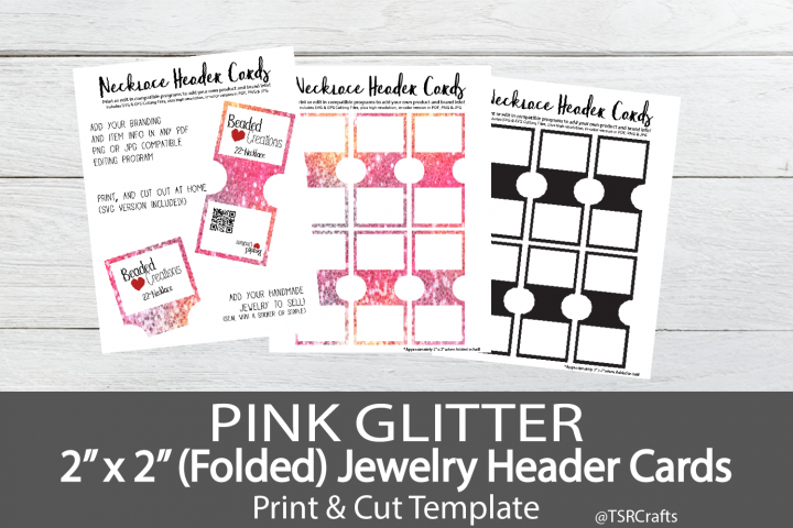 Jewelry Header Cards For Necklace Pink Glitter 154329 Customizable Templates Design Bundles Pink Glitter Cards Card Set