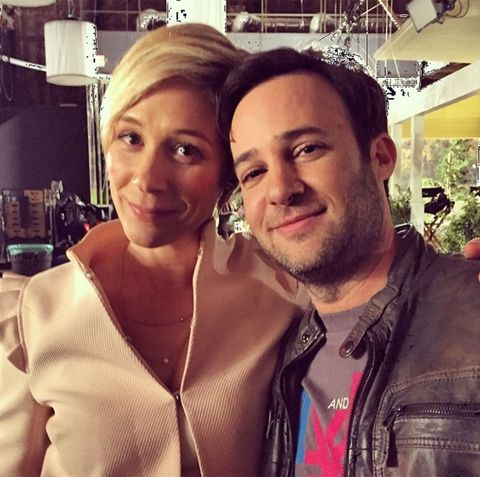 Liza Weil and Danny Strong on Gilmore Girls Set