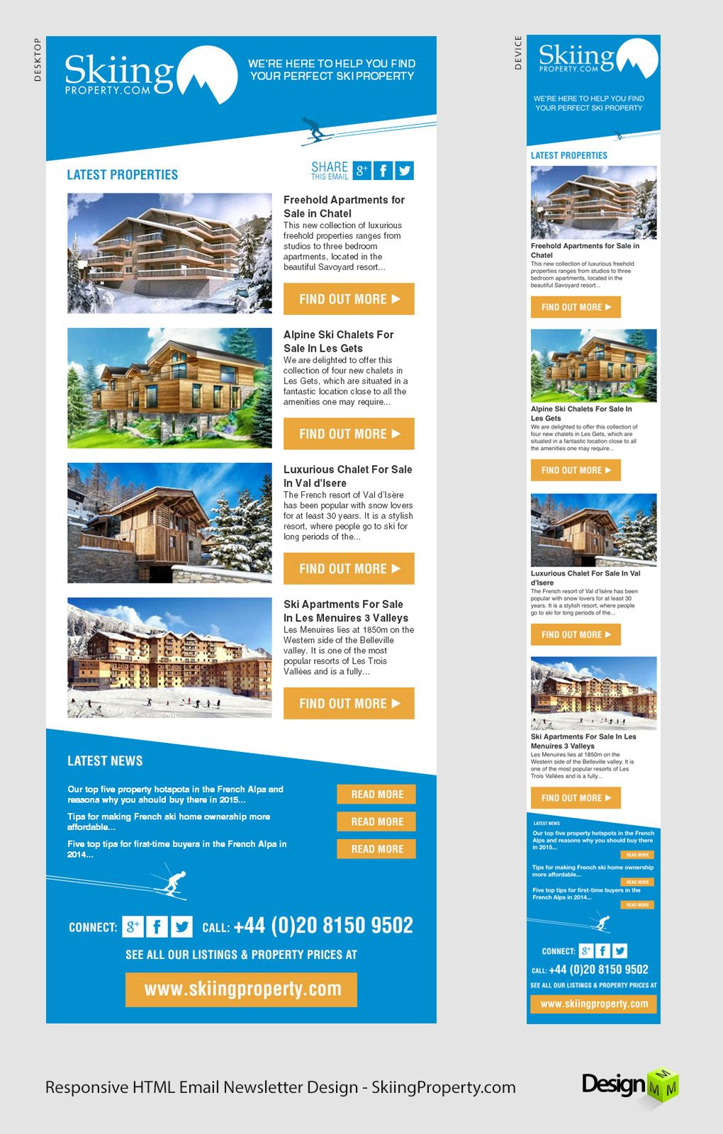 A Responsive Html Email Newsletter Designed For Skiing Property