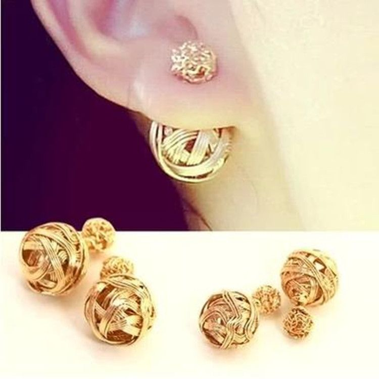 New Fashion Metal Ball Hollow Double Side 18k Plated Gold Earrings ...