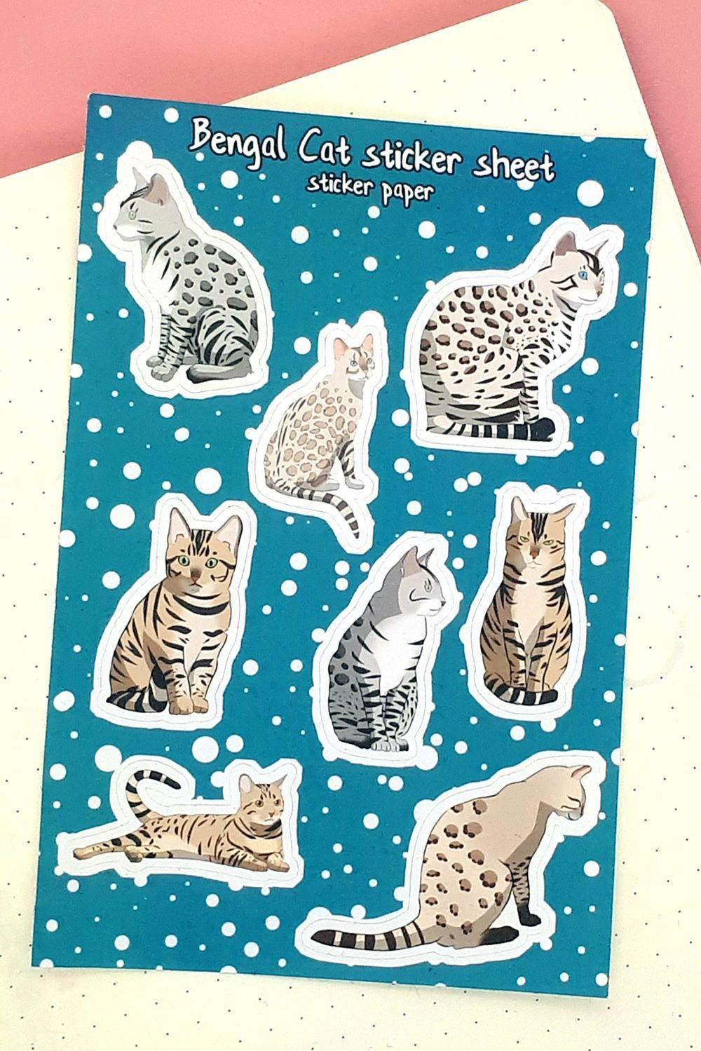 8 charming bengal cat vinyl stickers for your bullet journal | Etsy