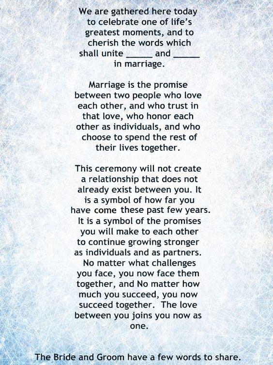 My Non-Religious, Short and Sweet Wedding Ceremony Script ...