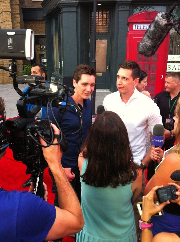 Pin for Later: Get an Inside Look Into the Magic of Diagon Alley  I got some blushing when I asked James (left) and Oliver Phelps about the best Harry Potter pickup lines they've heard.
