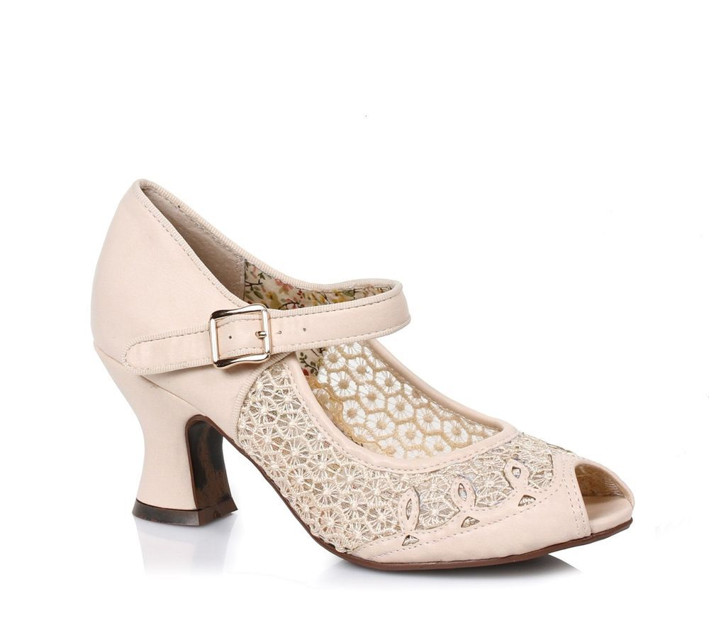 Cream Vintage Victorian Period 1920s Walking Shoes Fler Heels 6 7 8 9 10