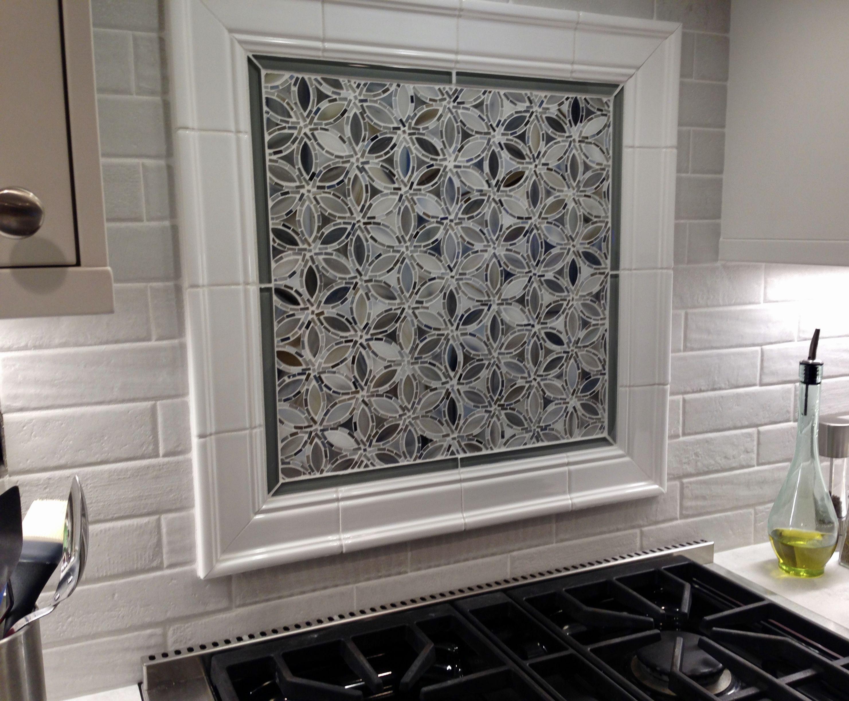 Backsplash Done With Flapper Floral Detroit Blues From Artistic Tile Ceramic Tile Backsplash Beautiful Backsplash Glass Tile Backsplash Kitchen
