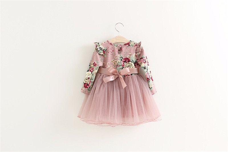 dbd8b38ef74b64 Peuter meisjes prinses jurk baby Bloemen jurken meisjes Kerst feestjurk kids  rood roze tutu kinderen kleding