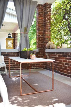Front Porch Fall Decorations and a Copper Pipe Table