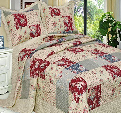 French Country Floral Patchwork Quilt Coverlet Bedding Set Oversized  King/Cal King Size Finely Stitched