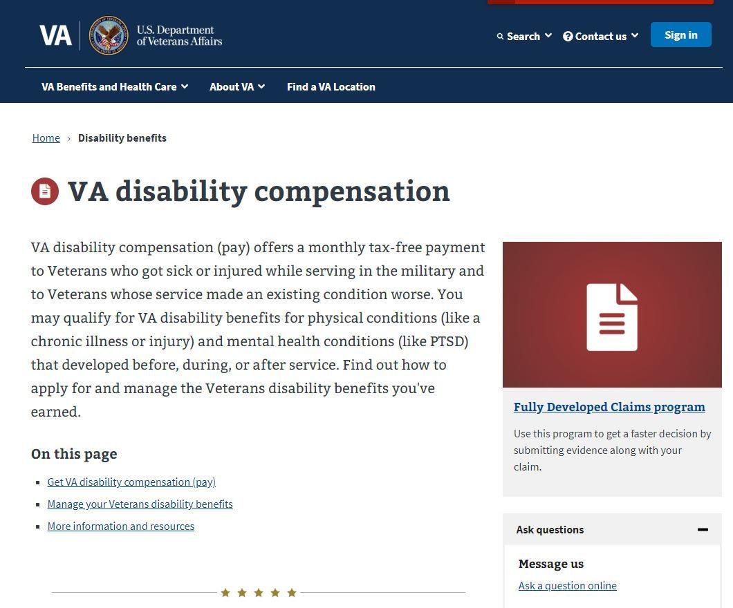 https//www.va.gov/disability/ in 2020 Va disability
