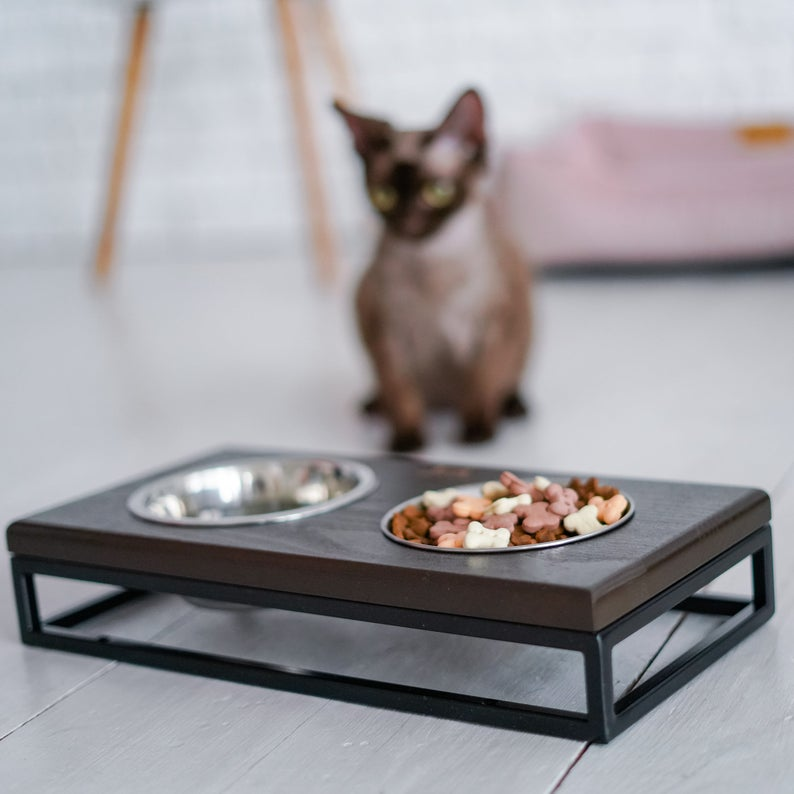 Cat Bowls Stand For Water And Food Wooden Eco Friendly Feeder For Modern Home Stable Black Metal Base And Wooden Top Small Size Cat Bowl Cat Bowl Stand Cat Bowls Bowl