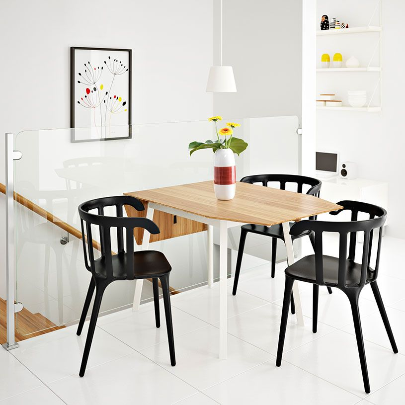 IKEA PS 2012 drop-leaf table in bamboo/white seats 2-4 with IKEA PS ...