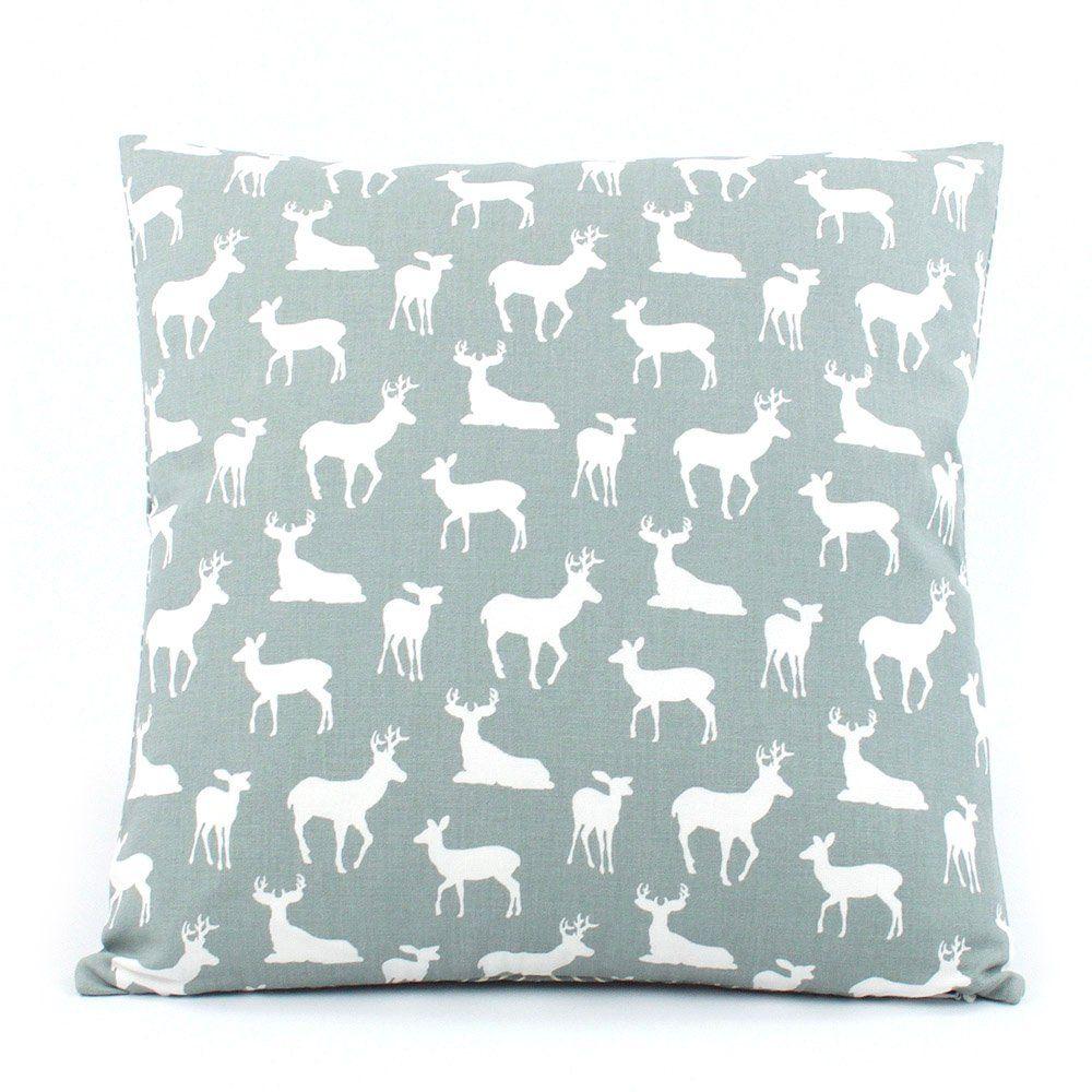 Oh deer grey stag u fawn chevron reversible decorative handmade