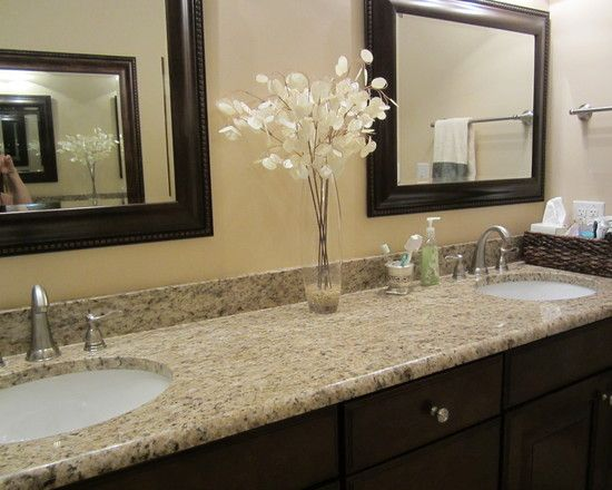 upstairs guest bathroom giallo ornamental granite wdark stain - Granite Bathroom Designs